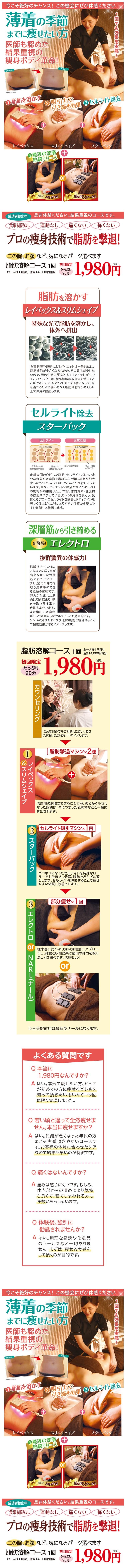 脂肪溶解1980円 痩身専門エステピュアスリム 奈良6店舗